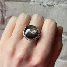 Load image into Gallery viewer, Sterling Lava Edge & 14K Rose Gold Brown Sapphire Ring