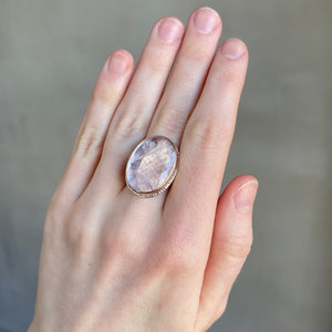 Sterling Lava Edge & 14K Rose Gold Oval Morganite Ring