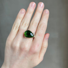 Load image into Gallery viewer, Sterling & 14K Gold Teardrop Green Tourmaline & Diamond Ring