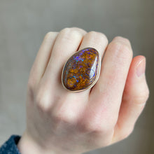 Load image into Gallery viewer, Sterling & 14K Gold Large Boulder Opal Ring