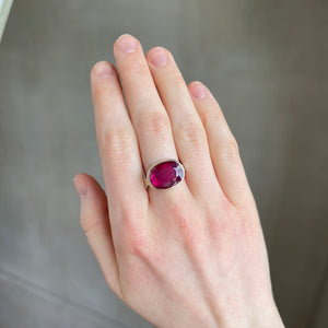 Sterling & 14K Gold Oval African Ruby Ring