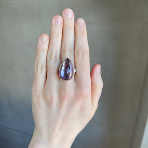 Sterling & 14K Rose Gold Amethyst & Diamond Ring