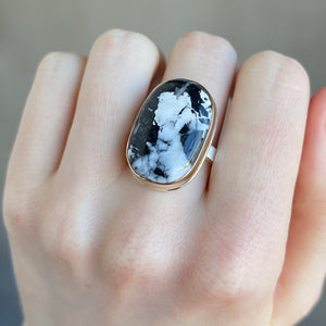 Sterling & 14K Gold Oval White Buffalo Turquoise Ring