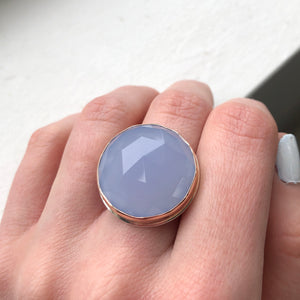 Sterling & 14K Rose Gold Large Round Blue Chalcedony Ring
