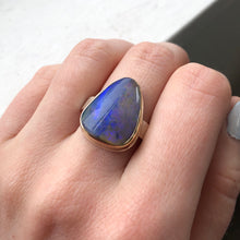 Load image into Gallery viewer, Sterling & 14K Gold Triangular Boulder Opal Ring