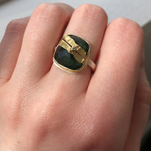 Load image into Gallery viewer, Sterling & 22K Golden Joinery Green Tourmaline Ring