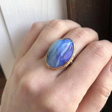 Load image into Gallery viewer, Sterling & 14K Gold Ruffled Edge Vertical Boulder Opal Ring