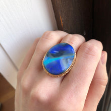 Load image into Gallery viewer, 14K Gold Carved Australian Opal Ring