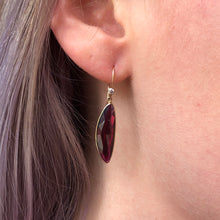 Load image into Gallery viewer, Sterling & 14K Gold Rhodolite Garnet & Diamond Earrings