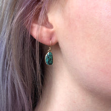 Load image into Gallery viewer, Sterling & 14K Gold Hubei Turquoise Earrings