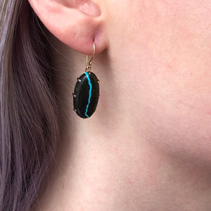 14K Gold Blackwater Turquoise Prong Earrings