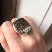 Load image into Gallery viewer, Sterling & 14K Gold Oval Astrophyllite in Quartz Ring