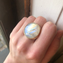 Load image into Gallery viewer, Sterling & 14K Gold Round Rainbow Moonstone Ring