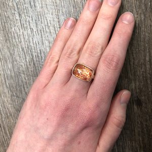 Sterling & 14K Gold Rectangular African Sunstone Ring