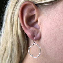 Load image into Gallery viewer, Sterling & 14K Gold Diamond Large Asymmetric Halo Earrings