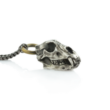 Load image into Gallery viewer, Oxidized Sterling & Brass Diamond Cave Bear Skull Necklace