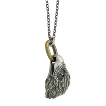 Load image into Gallery viewer, Oxidized Sterling & Brass Diamond Eagle Necklace