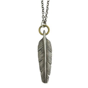 Oxidized Sterling & Brass Feather Necklace
