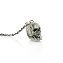 Load image into Gallery viewer, Oxidized Sterling & 14K Gold Skull Necklace