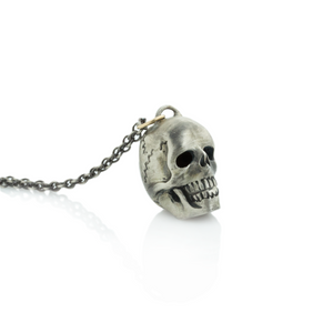 Oxidized Sterling & 14K Gold Skull Necklace