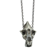 Load image into Gallery viewer, Oxidized Sterling Diamond Saber-Toothed Cat Skull Necklace