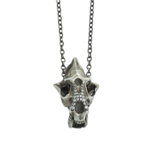 Oxidized Sterling Diamond Saber-Toothed Cat Skull Necklace