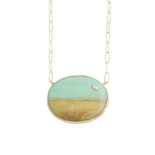 Load image into Gallery viewer, Sterling & 14K Gold Blue Indonesian Fossilized Opalized Wood & Diamond Necklace