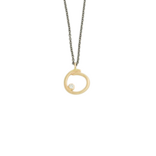 Load image into Gallery viewer, Oxidized Sterling & 14K Gold Diamond Curl Necklace