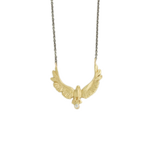 Load image into Gallery viewer, Oxidized Sterling & 14K Gold Diamond Eagle Necklace