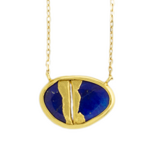 Load image into Gallery viewer, 22K Golden Joinery Lapis & Diamond Necklace