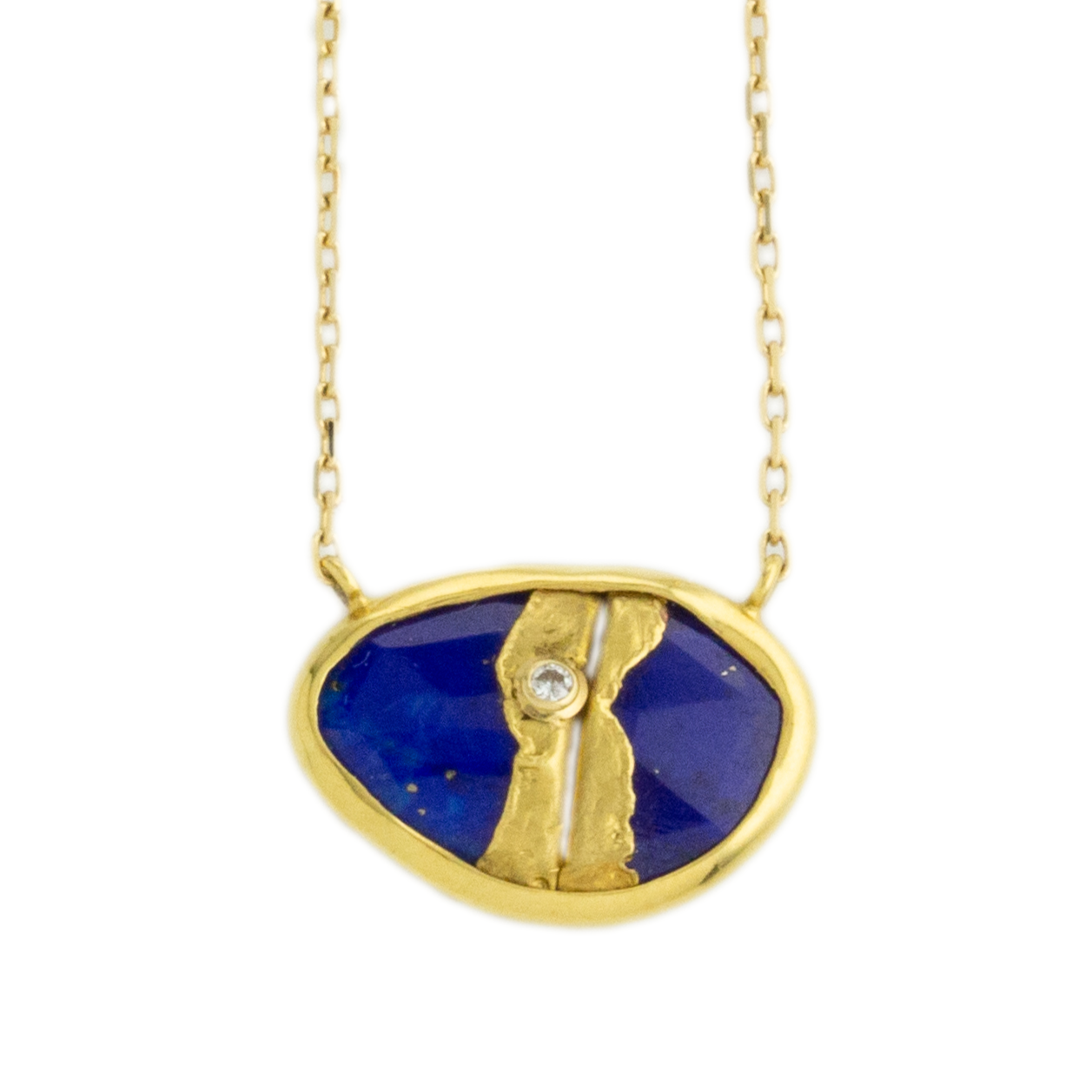22K Golden Joinery Lapis & Diamond Necklace