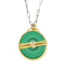 Load image into Gallery viewer, Oxidized Sterling & 22K Golden Joinery Malachite & Diamond Necklace