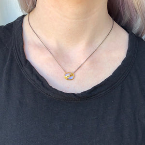 Oxidized Sterling & 22K Golden Joinery White Rainbow Moonstone & Diamond Necklace