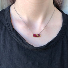 Load image into Gallery viewer, Oxidized Sterling & 22K Golden Joinery Ruby & Diamond Necklace