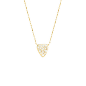 14K Gold Shield Diamond Pave Necklace