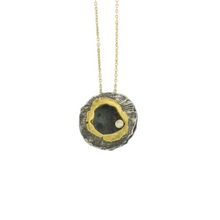 Load image into Gallery viewer, Oxidized Sterling & 18K Gold Diamond Round Lentil Necklace