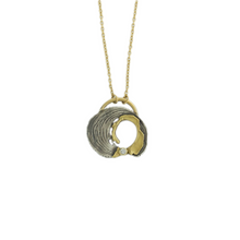Load image into Gallery viewer, Oxidized Sterling & 18K Gold Diamond Horseshoe Woodcut Necklace
