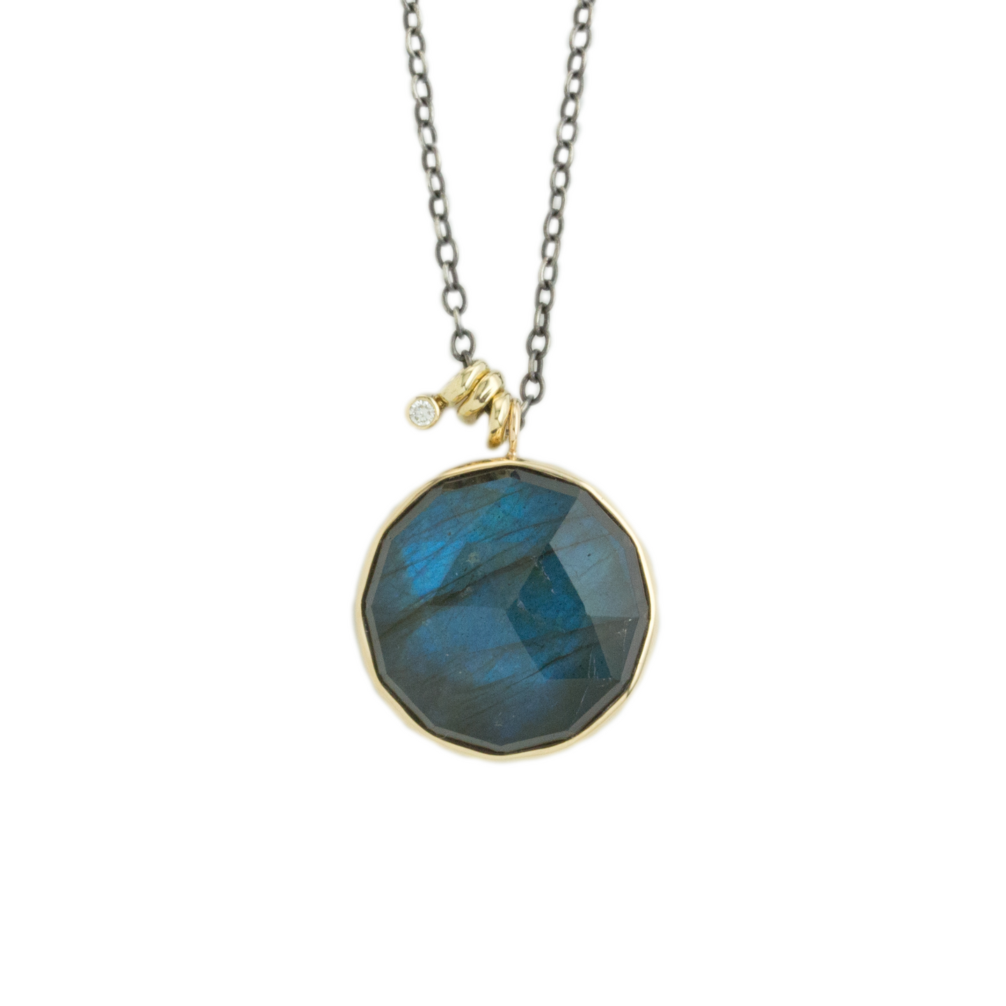 Oxidized Sterling & 14K Gold Labradorite & Diamond Necklace