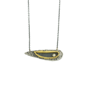 Oxidized Sterling & 22K Gold Diamond Domed Wing Necklace