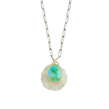 Load image into Gallery viewer, Oxidized Sterling & 14K Gold Sonoran Mt. Turquoise Necklace