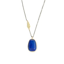 Load image into Gallery viewer, Oxidized Sterling & 14K Gold Lapis Necklace