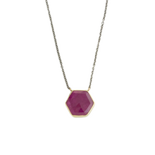 Load image into Gallery viewer, Oxidized Sterling & 14K Gold Hexagonal Ruby Necklace