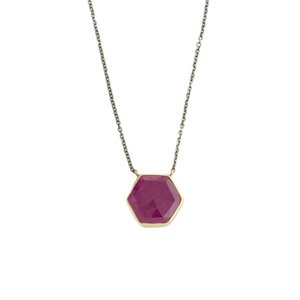 Oxidized Sterling & 14K Gold Hexagonal Ruby Necklace