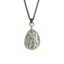 Load image into Gallery viewer, Oxidized Sterling & 14K Gold Almond Necklace