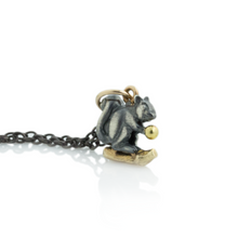 Load image into Gallery viewer, Oxidized Sterling & 14K Gold Squirrel Necklace
