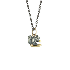 Oxidized Sterling & 14K Gold Squirrel Necklace