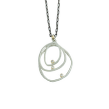 Load image into Gallery viewer, Oxidized Sterling & 14K Gold Triple Halo Necklace