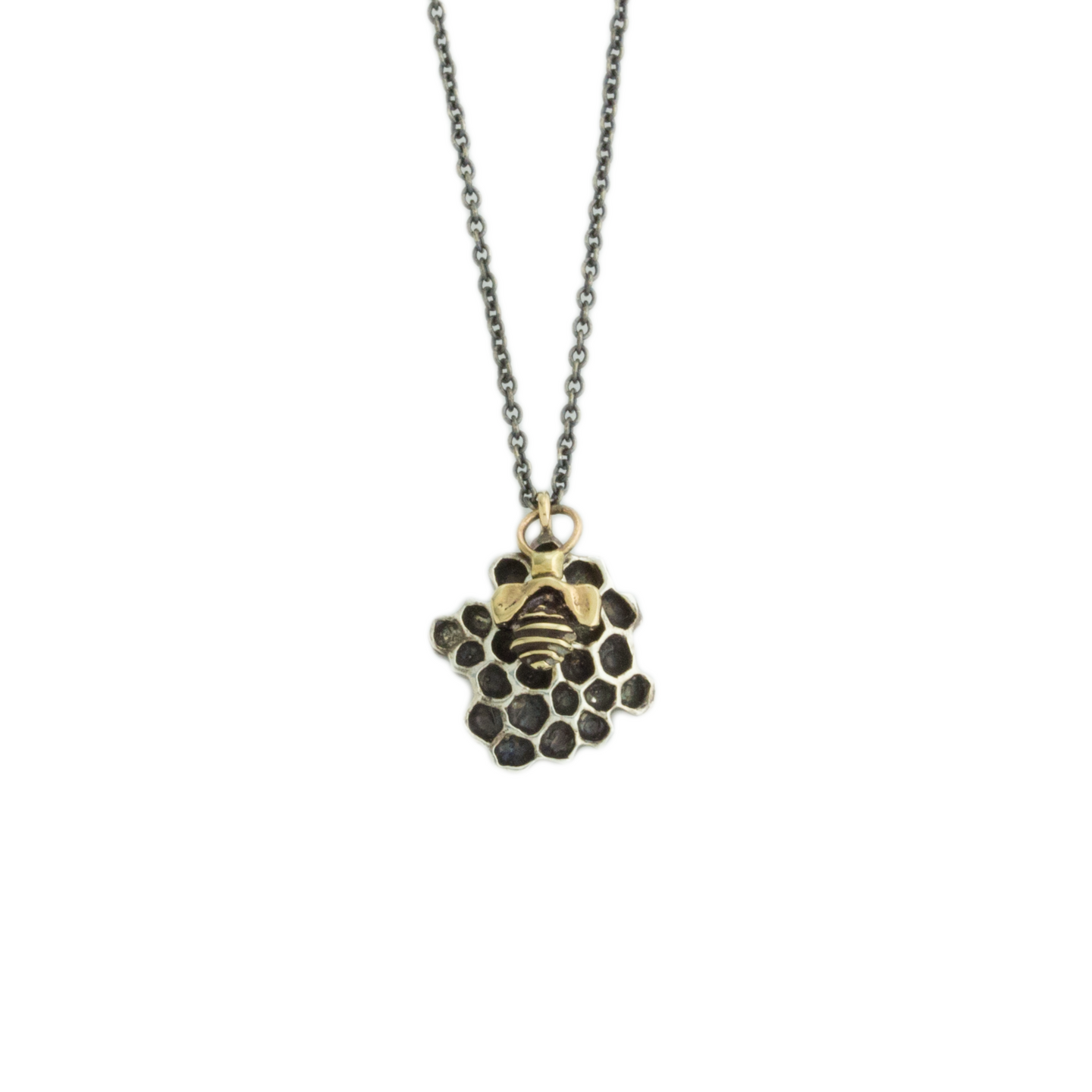 Oxidized Sterling & 14K Gold Honeycomb & Bee Necklace