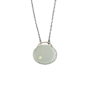 Oxidized Sterling & 14K Gold Diamond Moon Phase Necklace