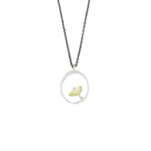 Load image into Gallery viewer, Oxidized Sterling & 14K Gold Diamond Leaf Necklace